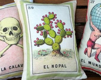 SHIPS FREE: El Nopal Loteria Cactus Pillow - Vintage Mexican Loteria Home Decor, Day of the Dead, Dia los Muertos, Cactus Cushion