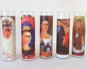 Choose 2 + Frida Kahlo Self Portrait Prayer Candles - Mexican style folk art votive candle, Latin American design glass prayer candle