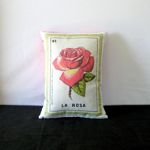La Rosa Mexicain Loteria Fleur Rose Coussin Couverture Circa Etsy