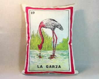 SHIPS FREE: La Garza Flamingo Bird Loteria Pillow - Vintage Mexican Loteria, Day of the Dead, Dia de los Muertos, Loteria Bird Heron