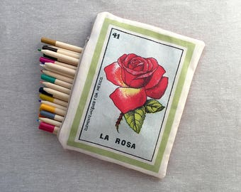 Large Rosa (rose flower) Zippered Pouch - Ephemera Mexican Loteria, Pencil Case, Make-up Bag, School Pouch, Party Favor Gift