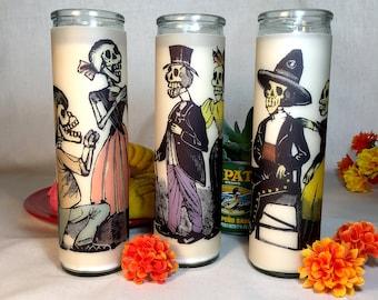 Posada Calavera Couples Glass Prayer Votive Candles - Mexican style votive glass prayer candle jar