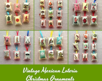 CLEARANCE Sale: Mexican Loteria Christmas Ornaments (your choice) - Mexican Christmas, Xmas decor, party favors, loteria ornaments