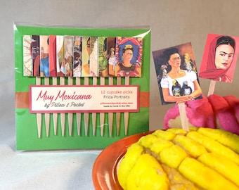 Frida Kahlo cupcake picks - set of 12 wood cake cocktail sandwich cheese food Southwest fiesta Frida wedding birthday party decoration