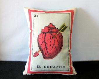 SHIPS FREE: El Corazon Loteria Heart Pillow - Vintage Mexican Loteria, Day of the Dead, Dia de los Muertos, Mexican Heart