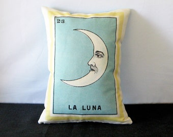 FREE SHIPPING: La Luna Moon Mexican Loteria Pillow - Vintage Mexican Day of the Dead, Mexican Themed Pillow, Dia los Muertos Decor