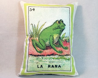 FREE SHIPPING: La Rana Frog Loteria Pillow Cover - Vintage Mexican Loteria, Day of the Dead, Dia de los Muertos,  Loteria Rana Frog Pillow