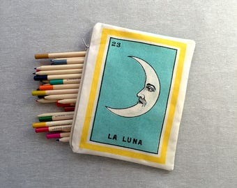 Large Luna (moon) Zippered Pouch - Ephemera Mexican Loteria, Pencil Case, Make-up Bag, School Pouch, Party Favor Gift