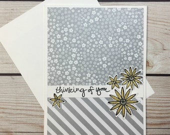 Thinking Of You Handmade Card, Get Well Card, Handstamped Just Because Card, Blank Card, Encouragement Greeting Card,