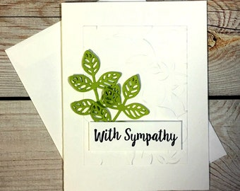 Sympathy Card, Die Cut Leaves, Simple Greeting Card, Bereavement Card, Condolence Card, Loss Of A Loved One Card, Thinking Of You Card