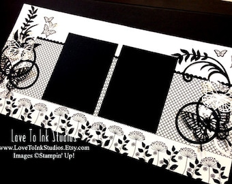 Double Page Scrapbook Layout, Black and Vanilla 12 x 12 Scrapbook Page Layout with Butterflies, Flourishes, Premade, Handmade Scrapbook Page