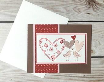 Love Birds Greeting Card, Anniversary, Engagement, Wedding, Valentine's Day, Bridal Shower, Handmade, Handstamped