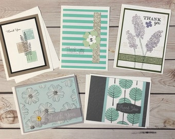 5 Thank You Cards, Thank You Card Set, Card Assortment, Handmade Thank You Greeting Cards, Handstamped Cards, Blank Inside Thank You Cards