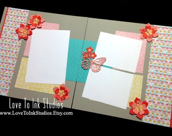 Spring Flowers and Butterfly Pre Made 12 x 12 Scrapbook Page Layout, Scrapbooking,  Spring Flowers, Double Page Layout, Spring Layout