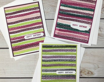 3 Birthday Cards, Set of 3 Happy Birthday Cards, Birthday Card Assortment, Unisex Birthday Cards, Handstamped Blank Birthday Greeting Cards