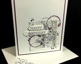 Birthday Card | Collage Greeting Card | Handstamped Card | Purple, Lavender, Violet Colors