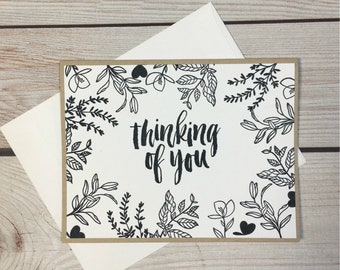 Thinking Of You Handmade Greeting Card, Handstamped Get Well, Sympathy, or Just Because Card, Card For Cancer Patient, Botanical Nature Card