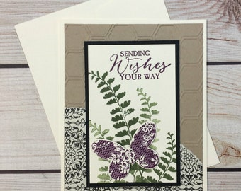 Sending Wishes Your Way Handstamped Greeting Card,  Happy Birthday Card, Retirement, Get Well, Butterfly, Fern, Nature Inspired
