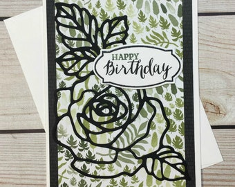 Happy Birthday Greeting Card, Die Cut Rose Silhouette, Botanical Printed Paper, Handmade Birthday, Nature Inspired