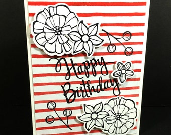 Happy Birthday Greeting Card,Floral Birthday, White Red Stripes, Handmade, Handstamped, Festive Birthday, Stampin' Up!