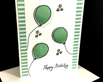 Happy Birthday Balloons Greeting Card, Mint Balloons With Stars, Mint Striped Printed Paper, Handstamped, Handmade Card, Gender Neutral
