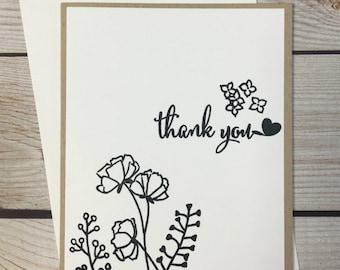 Thank You Card, Handstamped Botanical Greeting Card, Handmade Stationery, Kraft Paper Card, Appreciation Card, Black White Neutral