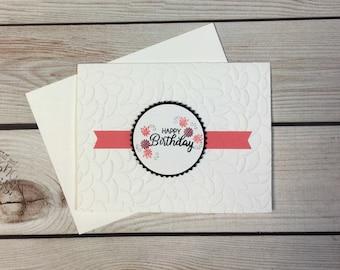 Happy Birthday Handmade Greeting Card, Flowers, Handstamped, Embossed Leaves, Simple Birthday Card, Blank Birthday Card, Salmon/Pink