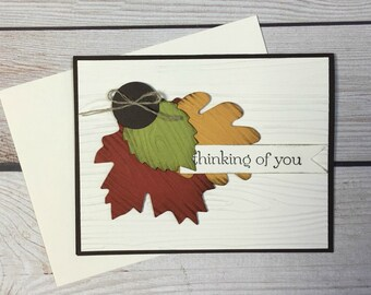 Thinking Of You Card, Autumn Handmade Greeting Card,Rustic Fall Leaves, Sympathy, Condolence, Bereavement, Get Well, Cancer Card,