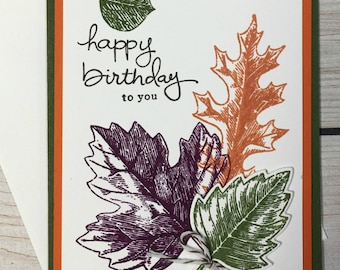 Happy Birthday Card, Fall Birthday Card, Colorful Autumn Leaves, Handstamped, Handmade