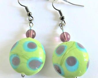 Green, Purple & Blue Spots Earrings