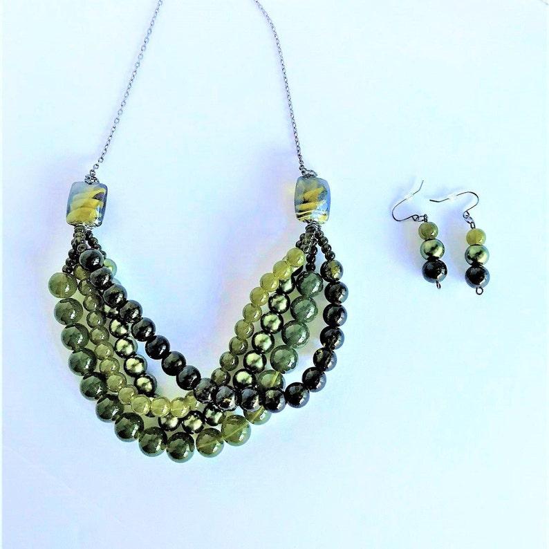 Olive Green Swirl Layered Set