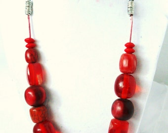 Abstract Red Mixed Beaded Necklace