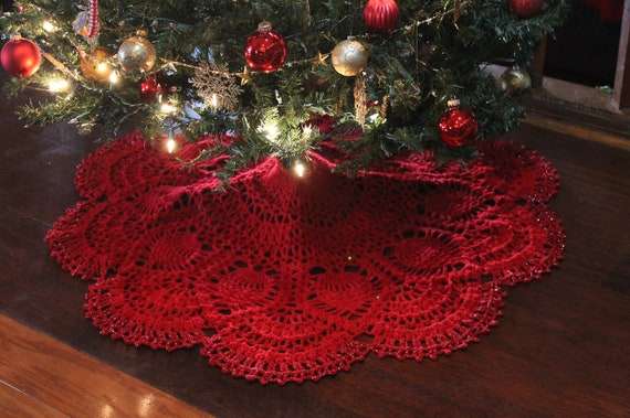 Christmas Tree Skirt Patterns.Cranberry Pineapple Crochet Christmas Tree Skirt Pattern Tree Skirt Available Ready Made In My Shop This Listing For Pattern Only