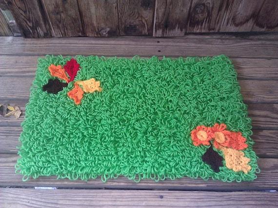 Crochet Shaggy Green Autumn Leaves Rug