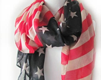 American Flag Scarf.Patriotic Scarf.4th of July Scarf.Independence Day Scarf.USA flag Scarf. (Long Scarf or Infinity Scarf)
