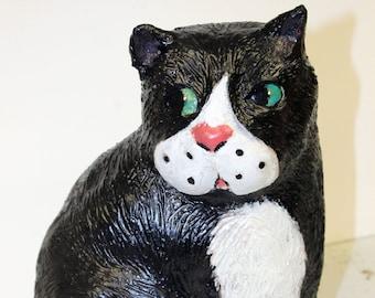 Paper Mache Clay Cat Sculpture - Felix the Cat