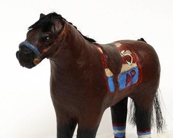Whimsical Paper Mache Clay Champion Racehorse American Pharoah