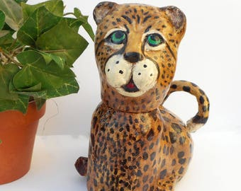 Paper Mache Clay Cheetah Treasure Box - Chet Cheetah