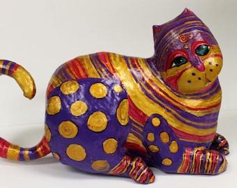 Paper Mache Clay Cat Sculpture - Jazz the Cat