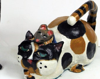 Paper Mache Clay Cat and Mouse Sculpture - Calico Cali and the Mouse