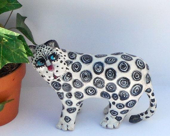 whimsical paper mache animal sculptures lenny the snow etsy