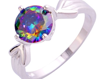 Gorgeous Rainbow Topaz Silver Ring Size 9 Perfect Gift