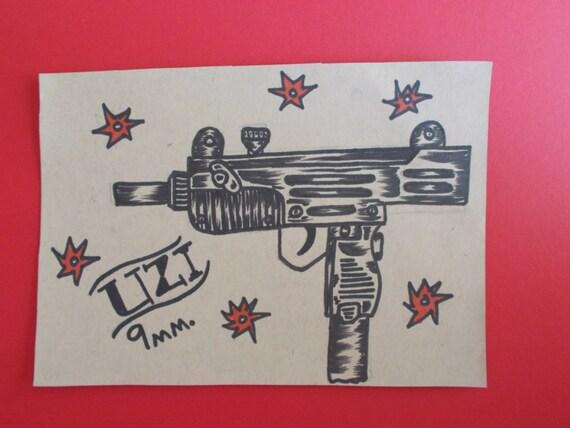 Pistolet Uzi Tattoo Flash Tatouage Caricature Uzi 9mm Etsy