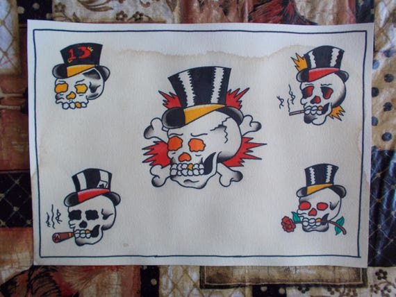 Traditional Skull And Top Hat Tattoo Paintingtraditional Etsy