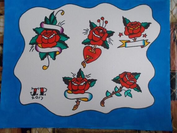 Traditional Tattoo Rose Flash Sheettattoo Flashrose Etsy
