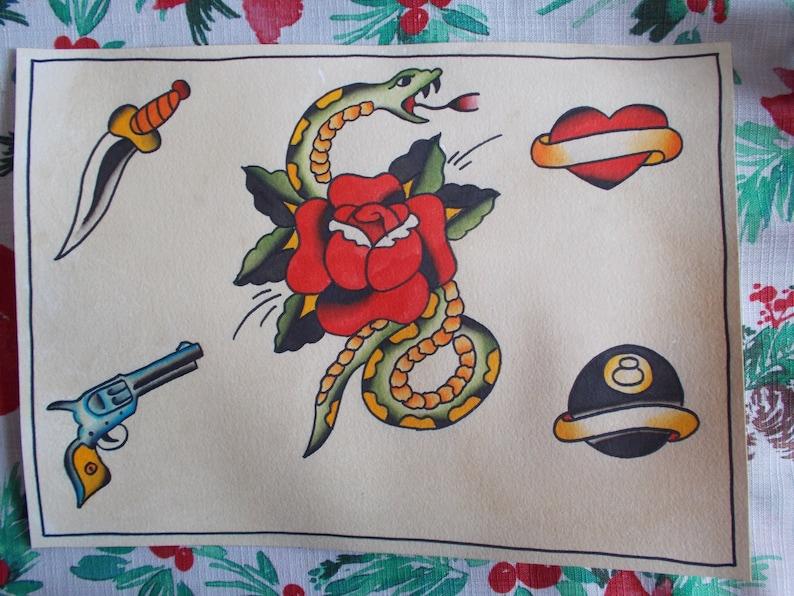 Traditional Tattoo Flash Sheetsnake Tattoorose Tattoodagger Etsy