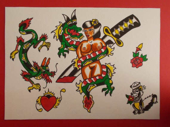 Pin Up Sword And Dragon Tattoo Flash Traditional American Etsy