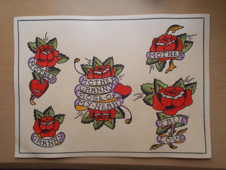 Traditional Tattoo Rose Flash Sheet Rose Tattooflowerflower Etsy