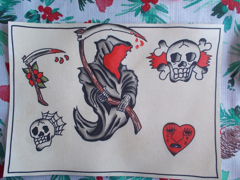 Traditional Tattoo Flash Sheetgrim Reaper Tattooskull Etsy