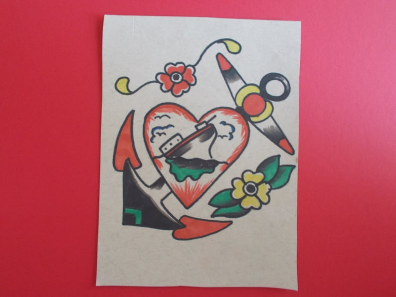 Vintage Tattoo Anchor Tattoo Flashsailor Etsy